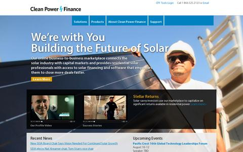 Screenshot of Home Page cleanpowerfinance.com - Clean Power Finance - Solar Financing and Software - captured July 11, 2014
