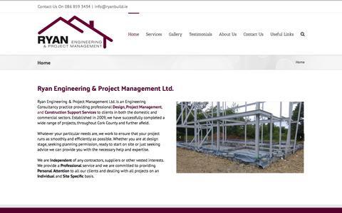 Screenshot of Home Page ryanbuild.ie - Ryan Engineering & Project Management, Cork & Ireland - captured Feb. 15, 2016