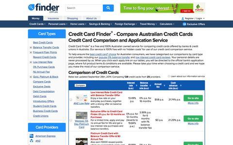 Screenshot of Home Page creditcardfinder.com.au - Credit Card Comparison | Compare Credit Cards at Credit Card Finder - captured Sept. 23, 2014