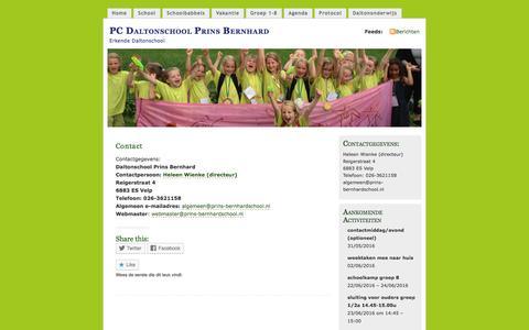 Screenshot of Contact Page wordpress.com - Contact | PC Daltonschool Prins Bernhard - captured May 28, 2016