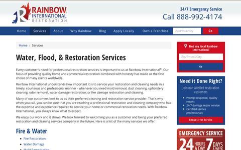 Screenshot of Services Page rainbowintl.com - Water, Flood, & Fire Restoration Services | Rainbow International - captured March 24, 2017