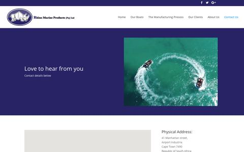 Screenshot of Contact Page rhinomarineboats.com - Contact Us – Rhino Marine Products - captured May 30, 2019