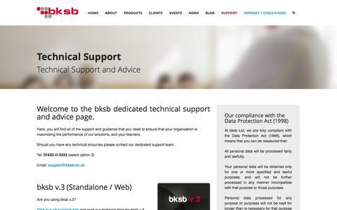 Screenshot of Support Page bksb.co.uk - Support - captured Oct. 8, 2014