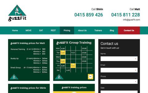 Screenshot of Pricing Page guzzfit.com - Pricing - guzzFit - captured June 29, 2018