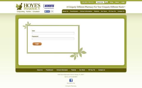 Screenshot of Login Page hoyespharmacy.com captured Sept. 30, 2014