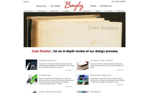 Screenshot of Case Studies Page bayly.com.au - Bayly Group | Product Design and Industrial Design Company Melbourne | Industrial Design Consultancy Australia | Industrial Designers - Case Studies - captured Oct. 5, 2018