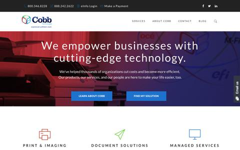 Screenshot of Home Page cobbtechnologies.com - Cobb Technologies | Managed IT Services, Print, Imaging, Document Management in Virginia - captured July 19, 2018
