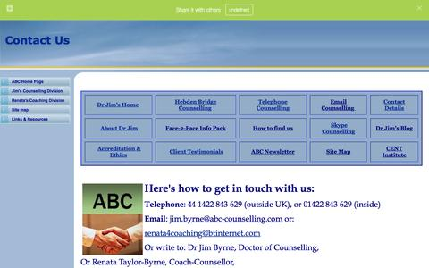 Screenshot of Contact Page abc-counselling.com - Contact details for ABC Coaching and Counselling - captured Feb. 4, 2016
