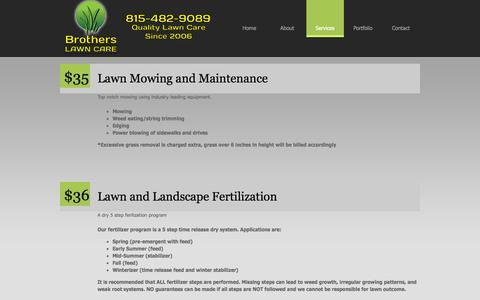 Screenshot of Services Page brotherslawncare.net - Brothers Lawn Care - captured Sept. 30, 2014