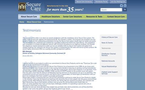 Screenshot of Testimonials Page securecare.com - Secure Care Testimonials - captured Nov. 28, 2016