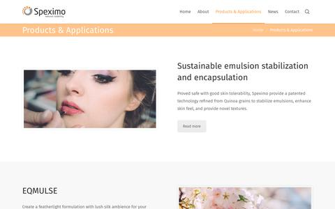 Screenshot of Products Page speximo.com - Products & Applications – Speximo AB - captured Oct. 18, 2018