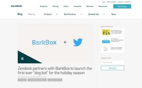 "Screenshot of Support Page zendesk.com - Zendesk partners with BarkBox to launch the first ever ""dog bot� for the holiday season 