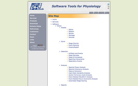 Screenshot of Site Map Page phitools.com - PhiTools: Software Tools for Physiology - captured Sept. 29, 2014
