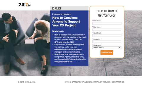 Screenshot of Landing Page 247.ai - How to Convince Anyone to Support Your CX Project - captured April 1, 2018