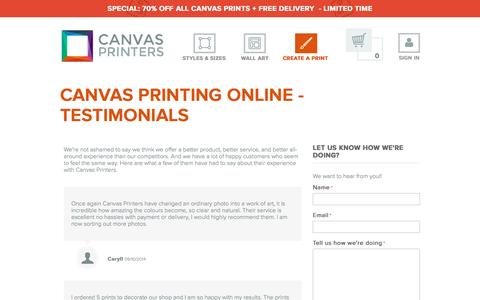 Screenshot of Testimonials Page canvasprintersonline.com.au - Testimonials - Canvas Printers Online Pty Ltd - captured Sept. 11, 2016