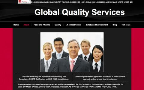 Screenshot of About Page gqsindia.com - About - ISO Certification, ISO Consultancy - Global Quality Services - captured Nov. 2, 2014