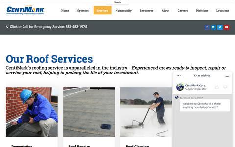 Screenshot of Services Page centimark.com - Roofing Services | Commercial Roofing Services | CentiMark - captured Oct. 3, 2019