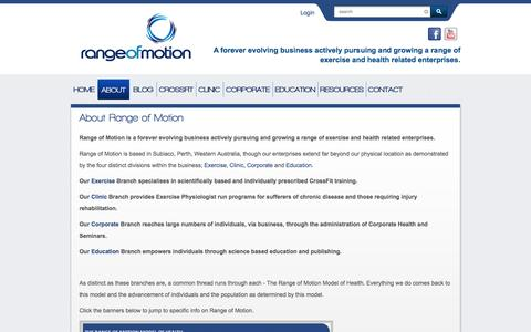 Screenshot of About Page rangeofmotion.net.au - About Range of Motion | Range Of Motion - captured Oct. 7, 2014