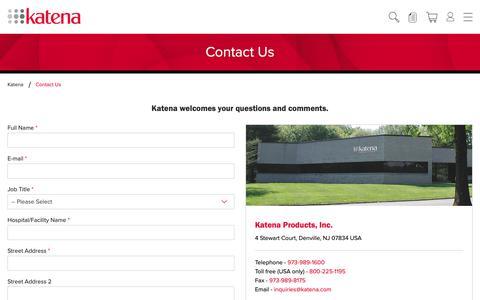 Screenshot of Contact Page katena.com - Contact Us   Katena - captured Oct. 15, 2018