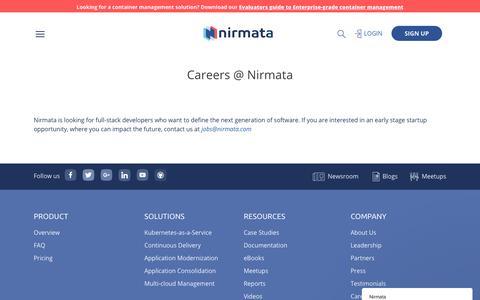 Screenshot of Jobs Page nirmata.com - Careers | nirmata - captured Sept. 21, 2018