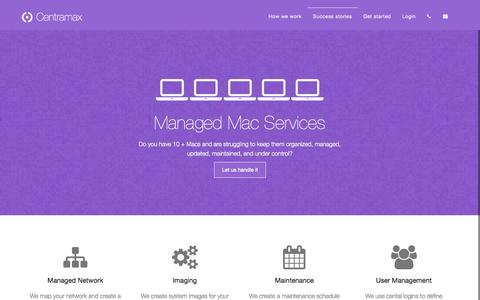 Screenshot of Home Page centramax.com - Centramax - Managed Mac Business Services - captured Oct. 3, 2014