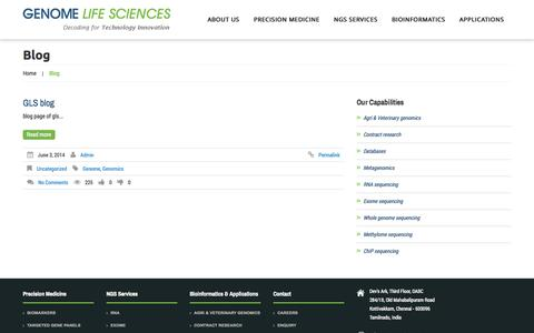 Screenshot of Blog genomels.com - Genome Life Sciences   - captured Oct. 2, 2014