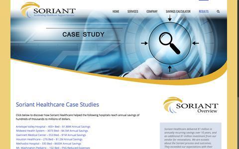 Screenshot of Case Studies Page sorianthealthcare.com - Case Studies | Healthcare Consulting | Soriant | Soriant Healthcare - captured Nov. 7, 2018
