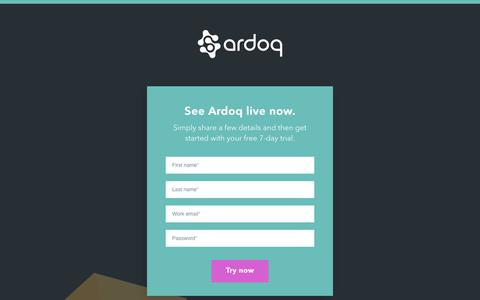 Screenshot of Signup Page ardoq.com - Ardoq - captured Sept. 11, 2019
