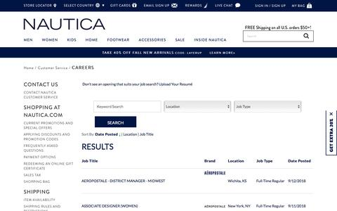 Screenshot of Jobs Page nautica.com - Careers - captured Sept. 20, 2018