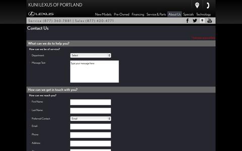 Screenshot of Contact Page kunilexusofportland.com - Contact Us - Lexus of Portland - Portland OR - captured Oct. 28, 2014