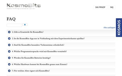 Screenshot of FAQ Page kosmos.de - FAQ - KOSMOS Verlag - captured Nov. 29, 2018