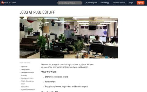 Screenshot of Jobs Page publicstuff.com - PublicStuff ~ Careers - captured Sept. 12, 2014