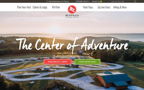Screenshot of Home Page buffaloriver.com - Buffalo National River Cabins and Canoeing in         Beautiful Ponca, Arkansas - captured Oct. 11, 2017