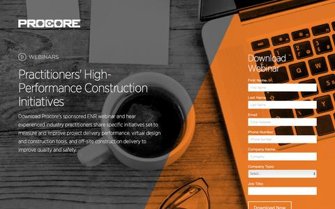 Screenshot of Landing Page procore.com - Practitioners' High-Performance Construction Initiatives - captured March 15, 2016