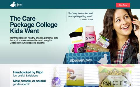 Screenshot of Home Page pijonbox.com - Pijon Box - Curated Monthly Care Packages College Students Love. - captured Nov. 29, 2015
