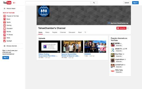 Screenshot of YouTube Page youtube.com - TahoeChamber's Channel  - YouTube - captured Oct. 22, 2014
