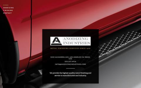 Screenshot of Home Page anodizingindustries.com - Anodizing Industries - captured Oct. 4, 2014