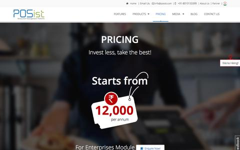 Screenshot of Pricing Page posist.com - POS software/System Price, Restaurant Management pos software Cost india, Buy POS System Online/Offline - captured Jan. 23, 2016