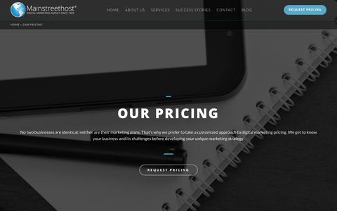 Screenshot of Pricing Page mainstreethost.com - SEO & Digital Marketing Services Pricing & Packages - captured Oct. 1, 2017