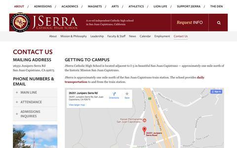 Screenshot of Contact Page jserra.org - Contact Us - JSerra Catholic High School - captured Oct. 16, 2017