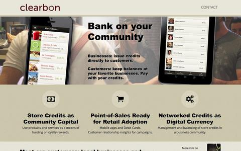 Screenshot of Home Page clearbon.com - Clearbon, Inc | Bank on Community - captured Sept. 12, 2014