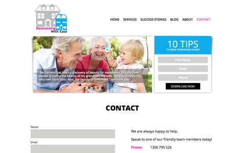 Screenshot of Contact Page downsizingwithease.com.au - Downsizing With Ease - contact us | Downsizing with Ease - captured Aug. 5, 2018