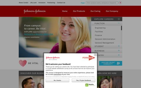 Screenshot of Jobs Page jnj.com - Careers - captured Sept. 18, 2014