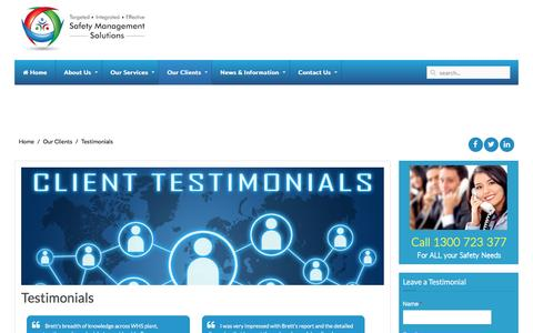 Screenshot of Testimonials Page safetymanagementsolutions.com.au - Client Testimonials | Safety Management Solutions - captured May 27, 2017