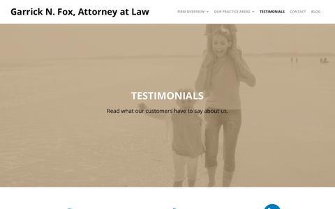 Screenshot of Testimonials Page foxonlaw.com - Testimonials - Garrick N. Fox, Attorney at Law - captured Nov. 1, 2018