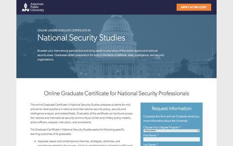 Screenshot of Landing Page apus.edu - Online Graduate Certificate in National Security Studies | American Public University - captured Aug. 18, 2016