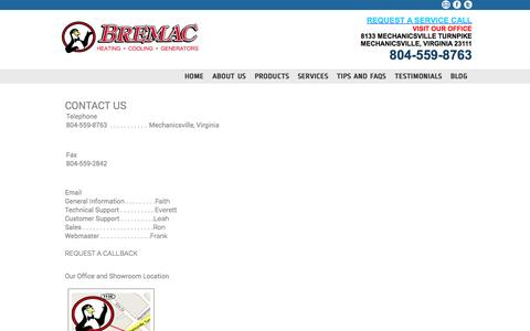 Screenshot of Contact Page bremacair.com - Contact Us - captured Oct. 1, 2014