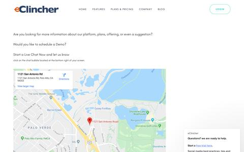 Screenshot of Contact Page eclincher.com - eClincher says… - captured Oct. 23, 2019