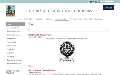 Screenshot of Press Page highground-uk.org - News - HighGround - Life Beyond the Military Outdoors - captured Aug. 12, 2017