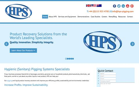Screenshot of Home Page hps-pigging.com - Pigging Systems | Hygienic (Sanitary) Pigging Systems |HPS Product Recovery Solutions - HPS - captured July 9, 2017
